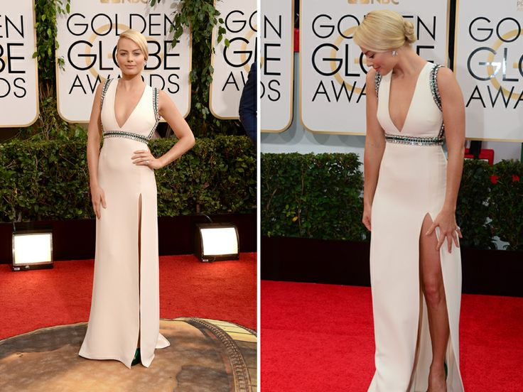 Sleek, chic and white: Margot Robbie's white Gucci gown at the 2014 Golden Globes will inspire evening wedding attire