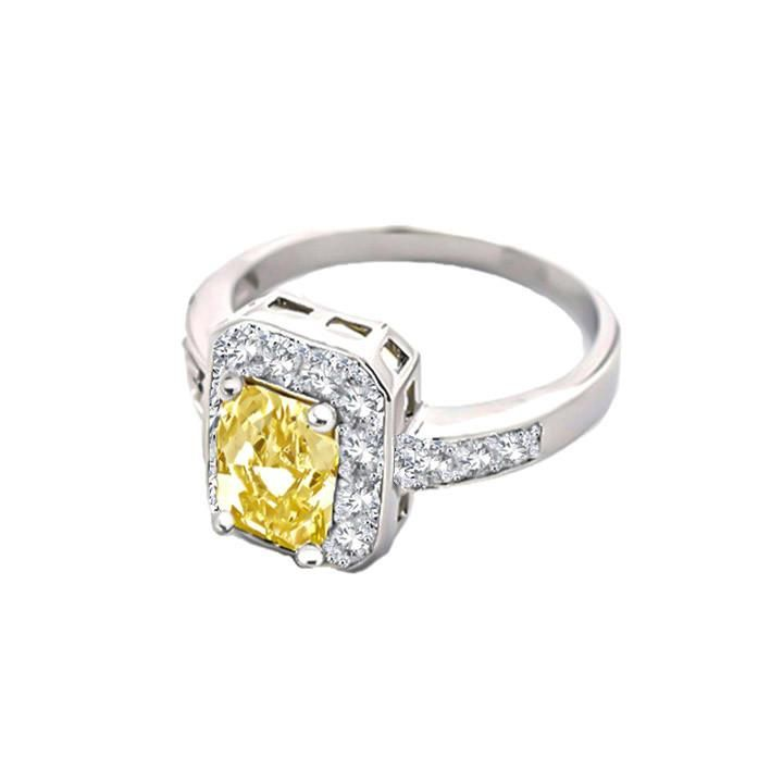 Sunshine, canary yellow gemstone ring with AAA cubic zirconia stones.