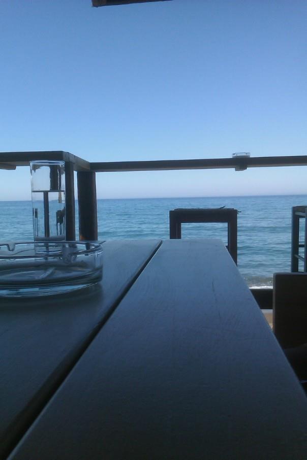 Balcony view, deep blue  Lesbos, Greece