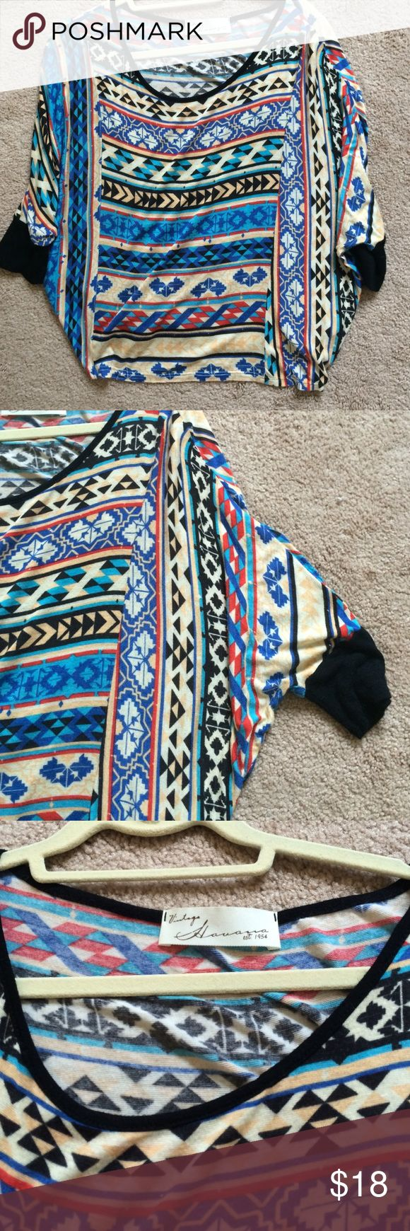 Aztec patterned slouchy top Rayon. Size M. Purchased on Haute Look-one of their boutique brands. 1/2-3/4 sleeves. Note Maje but similar. Maje Tops Blouses