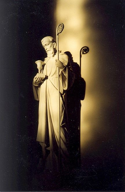 Photo of St Benedict statue in Sacred Heart Chapel by Verenice Ramler, OSB