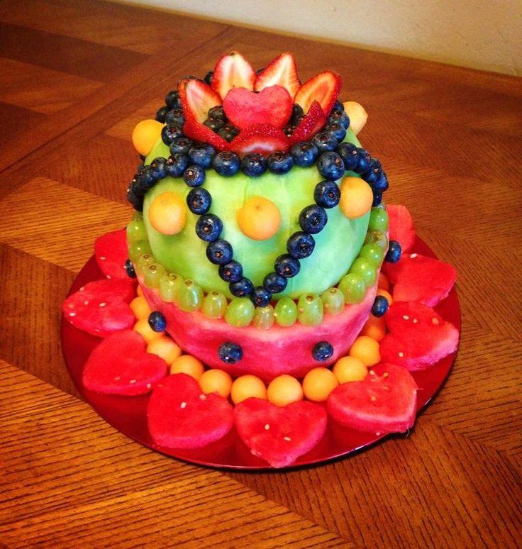 cake made of fruit | The fresh fruit cake I made! :) | Party Ideas