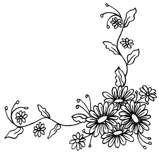 Line Drawing Flower Borders : Best images about corner borders on pinterest floral