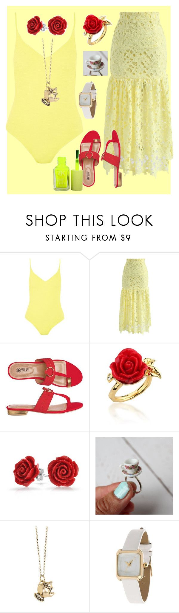 """Belle Beach Look"" by ununiformedstyles on Polyvore featuring Topshop, Chicwish, Avon, Disney Couture, Bling Jewelry, Disney and Miss Selfridge"