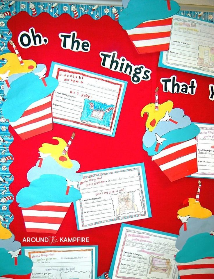 "Literacy Week bulletin board idea- Our 1st and 2nd graders ""baked""  birthday cupcakes and wrote about the gifts Dr. Seuss has given them as readers. Such a fun writing idea for kids during Read Across America week!"