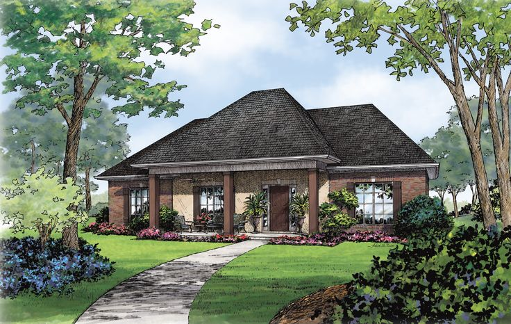 An inviting covered porch leads to a three bedroom floor plan in this Acadian Style, brick and stucco front home. The master suite is split from the other bedrooms by the spacious 'living center' of the house.