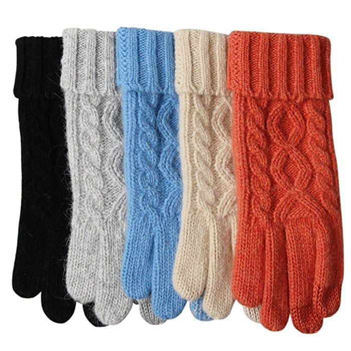 Womens Winter Warmest Wool Knit Gloves Mitten Texting Touchscreen Lined (One Size, Black)