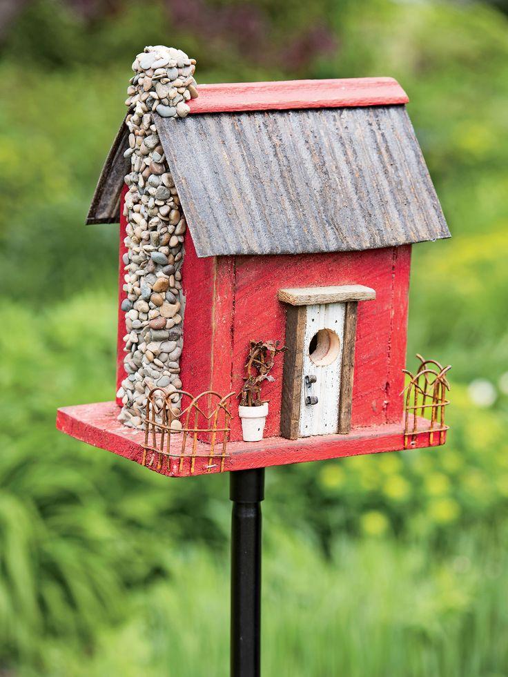 Wooden Bird House Red Barn Wood Bird