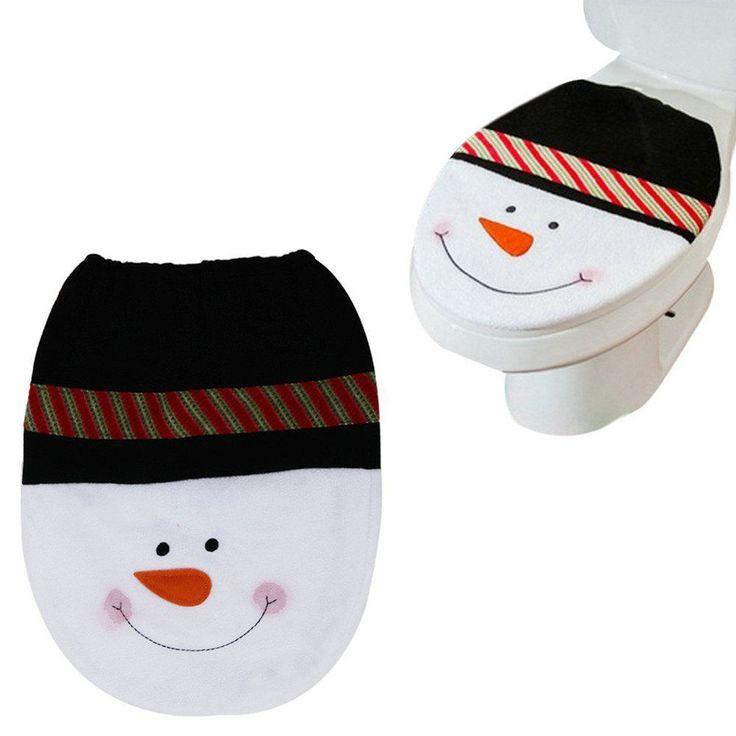 1 Pcs Black Snowman Toilet Seat Cover Lid Xmas Christmas Decoration Mt03