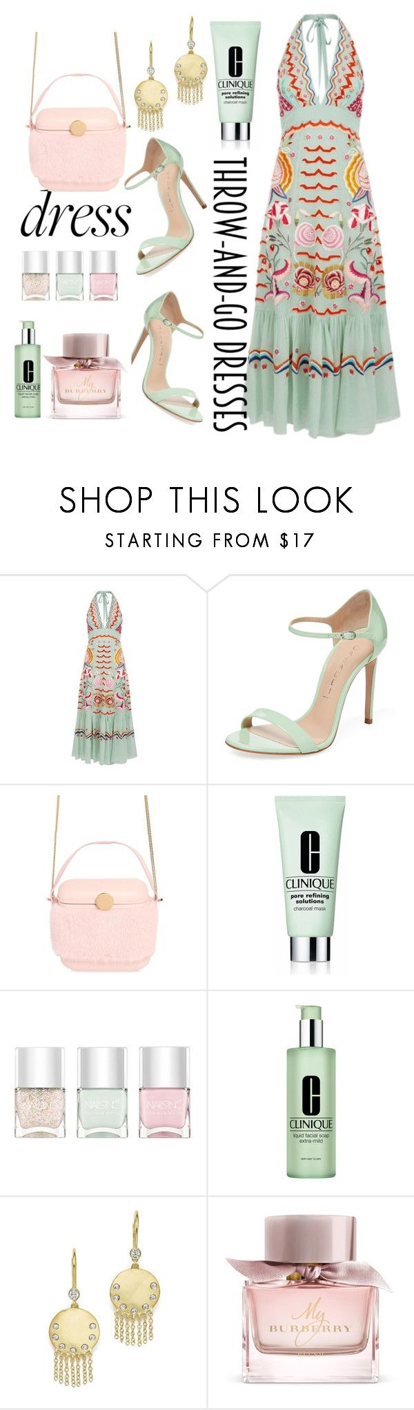 """""""throw and go dresses #contest"""" by foufasher ❤ liked on Polyvore featuring Temperley London, Casadei, Benedetta Bruzziches, Clinique, Nails Inc., Meira T and Burberry"""