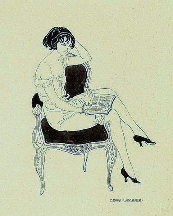Wegener, Gerda (Gerda Marie Fredrikke Gottlieb - b,1886)- Woman w Book