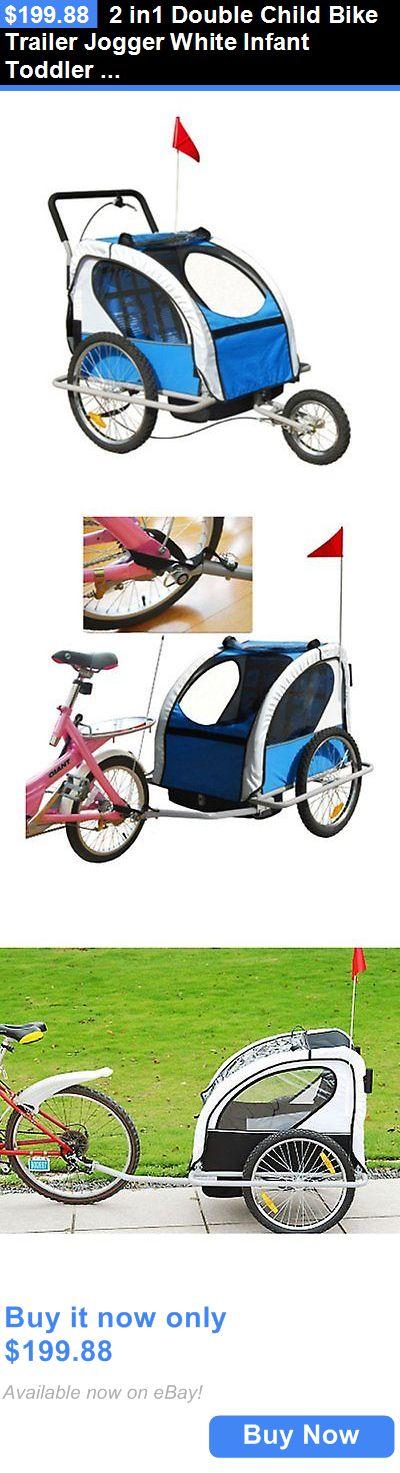 baby kid stuff: 2 In1 Double Child Bike Trailer Jogger White Infant Toddler Walker Baby Stroller BUY IT NOW ONLY: $199.88