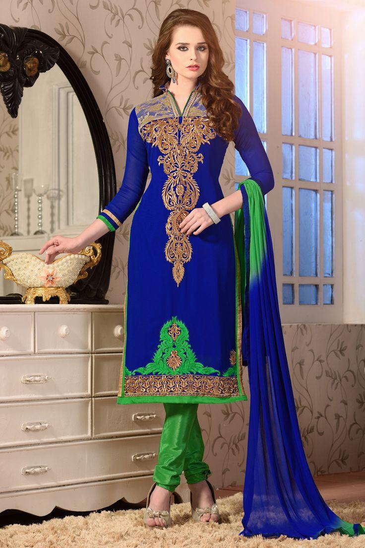 Blue designer salwar kameez online from Skysarees