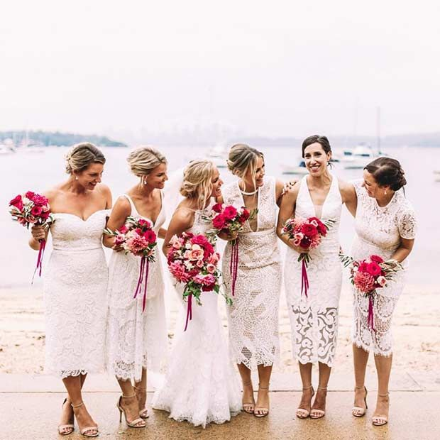 Mismatched White Lace Dresses for Bridesmaids                                                                                                                                                                                 More