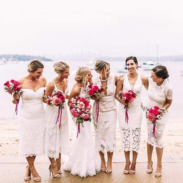 Mismatched White Lace Dresses for Bridesmaids More