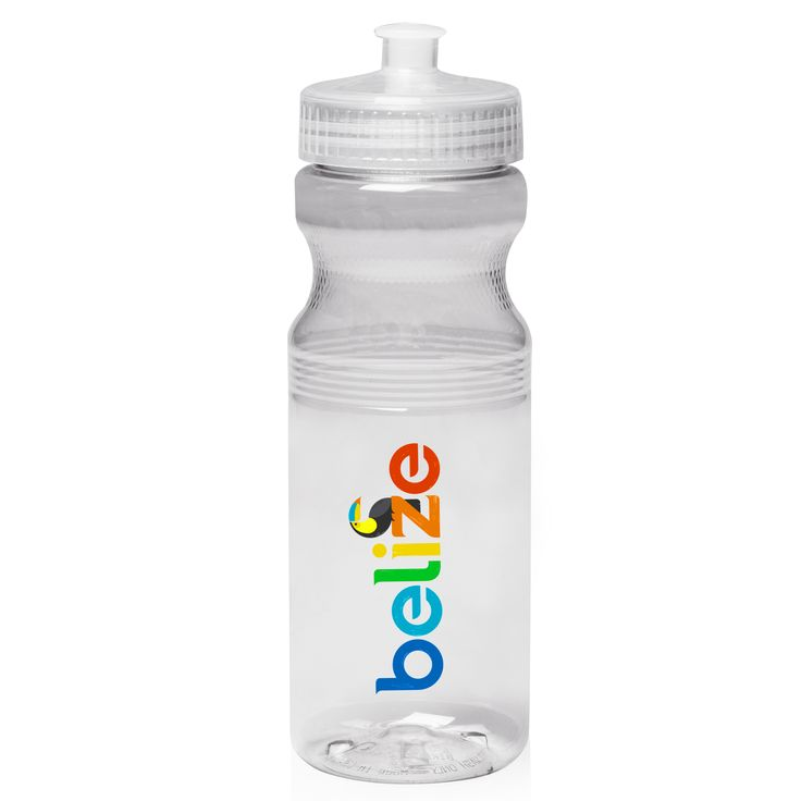 24 oz. promotional bike water bottles printed with you custom logo. Get these plastic water bottles and save with Free shipping - made with durable PET plastic.