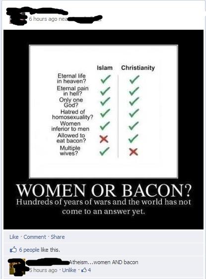women or bacon