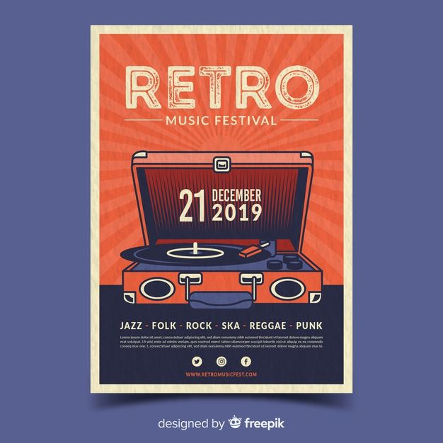 Download Retro Music Poster Template For Free Retro Typography Poster Vector Free