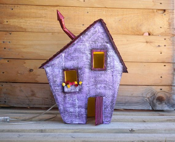 Paper House Night Light Lighted Paper Mache House by irineART