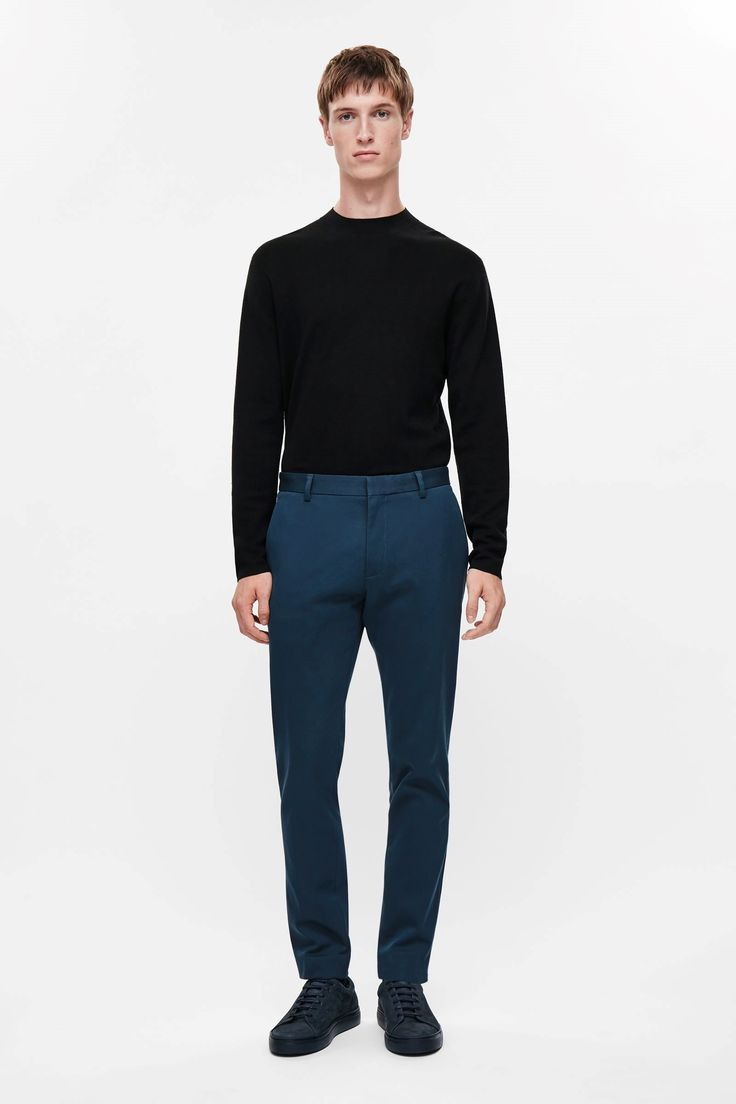 COS image 1 of Slim-fit cotton trousers in Petrol Blue