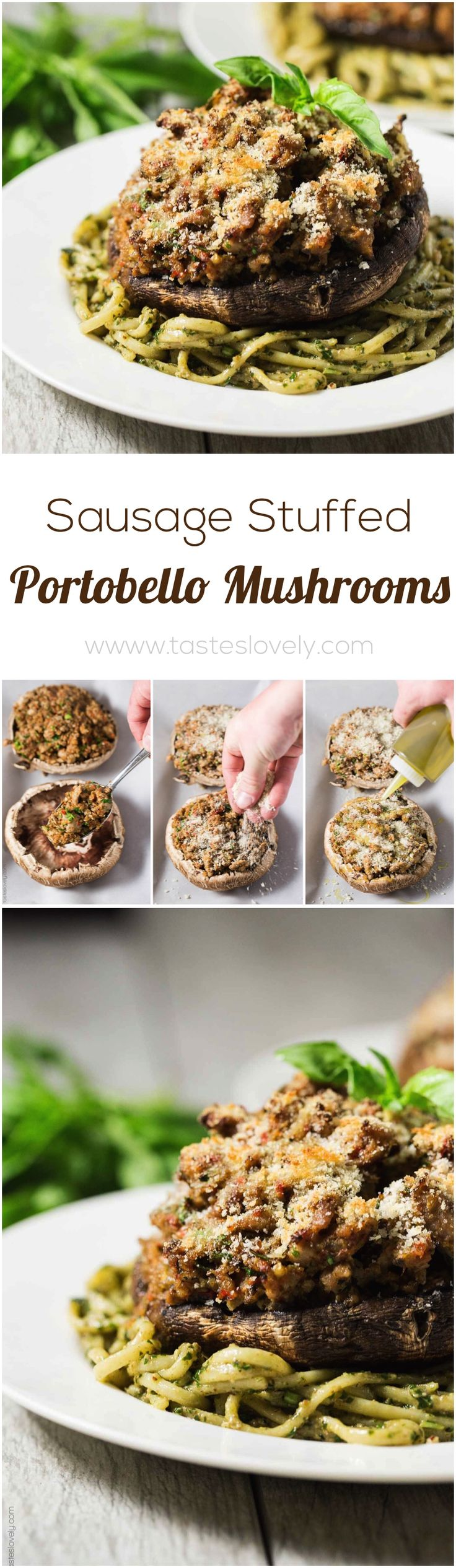 Sausage Stuffed Portobello Mushrooms (leave off the panko topping to make these low carb, paleo, gluten free and Whole30!)