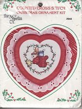 new berlin flying rabbit angel counted cross stitch ornament kit heart frame