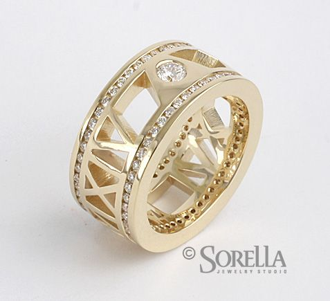 "Diamond-Rimmed Roman Numeral Ring with ""Pierced"" Band in 14k Gold"
