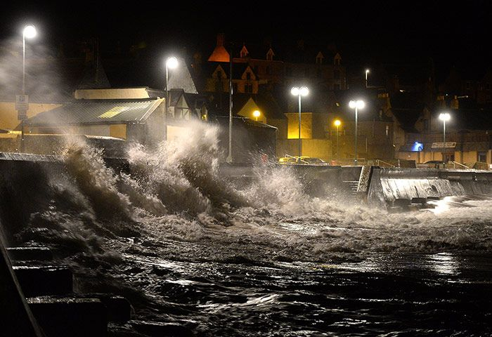 UK weather update: A tidal storm surge pounds Eyemouth Harbor