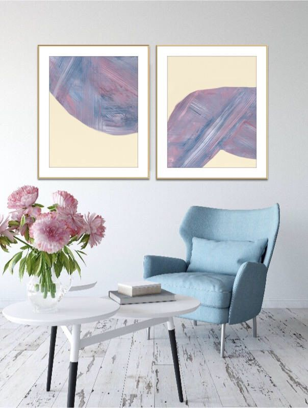 Excited to share the latest addition to my #etsy shop: Set of 2 Prints, Set of two Prints, Abstract Painting, Blush Pink, Abstract Art, A2 Poster Size, Set of Two, Large Print, Acrylic Set,