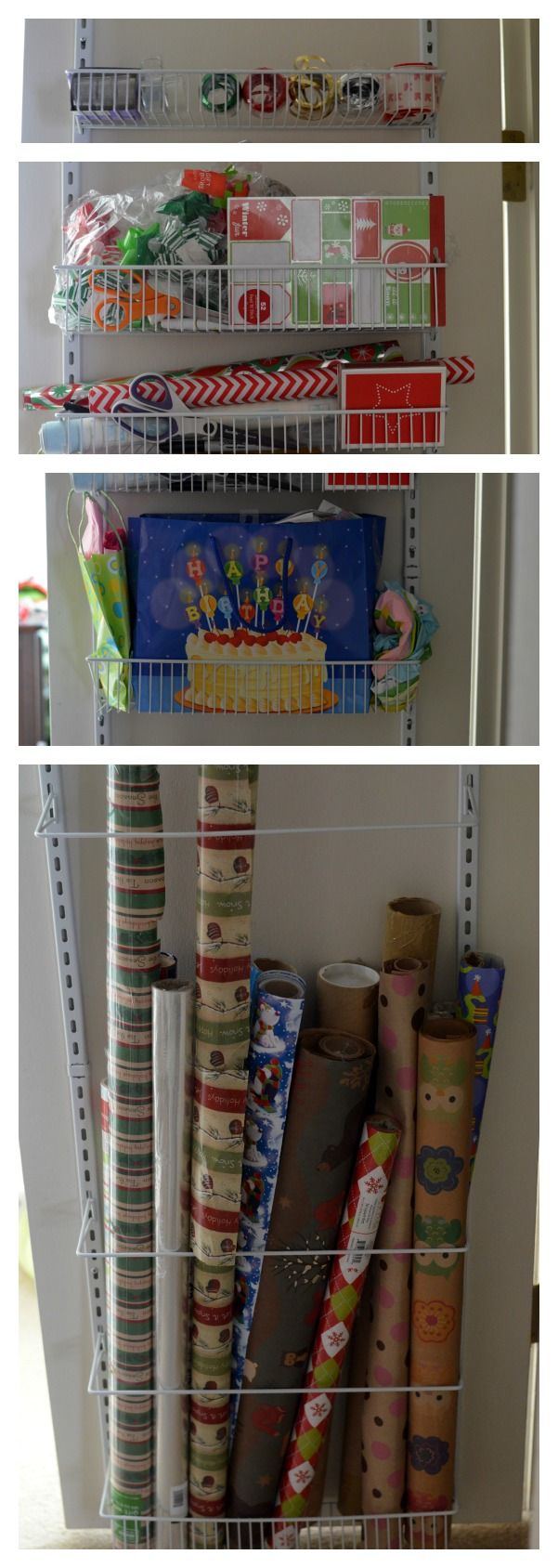 Over The Door Wrapping Paper Storage Solution - ClosetMaid Adjustable Door Rack turned into a gift wrap storage station. Genius!