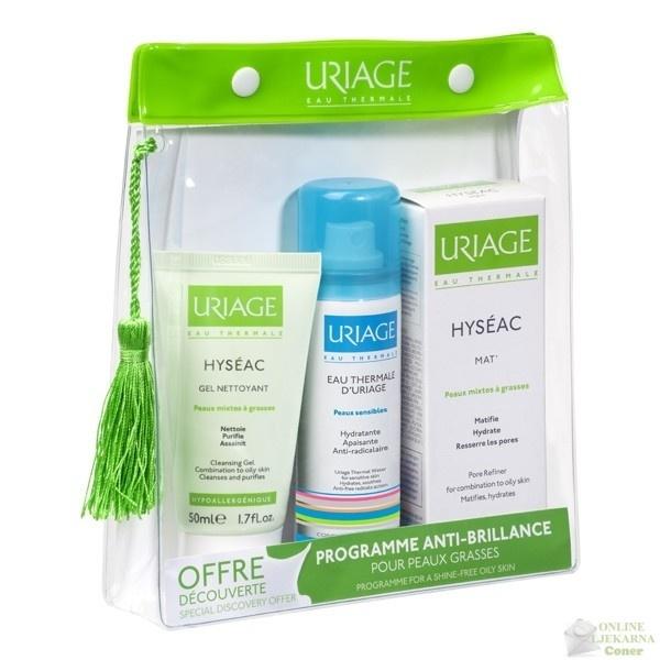 Uriage Hyseac set - kupovinom Hyseac Mat emulzije, dobivate GRATIS Uriage Hyseac gel za pranje 50 ml, Uriage termalnu vodu 50 ml i neseser.