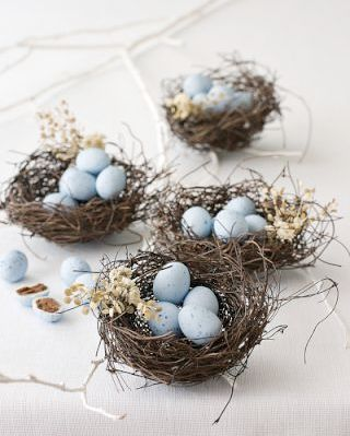 eggs decor faux natural birds nest, add brown wheat to one little area and chocolate blue robins eggs.