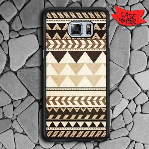 Aztec Pattern Art Wood Samsung Galaxy S6 Edge Plus Black Case