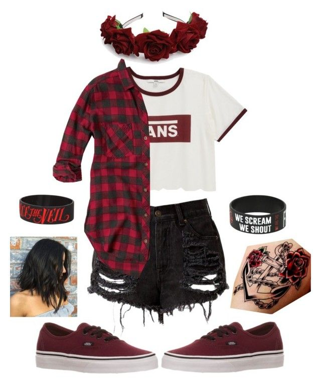 """""""Red and Black Vans"""" by cesca-8-rose ❤ liked on Polyvore featuring Vans, Abercrombie & Fitch and Hot Topic"""