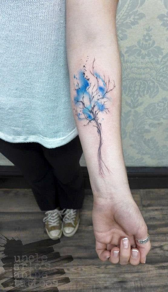 Little tree, blue splash.  Arlin French, Uncle Arlo's A Plus Tattoos, Vancouver, BC.