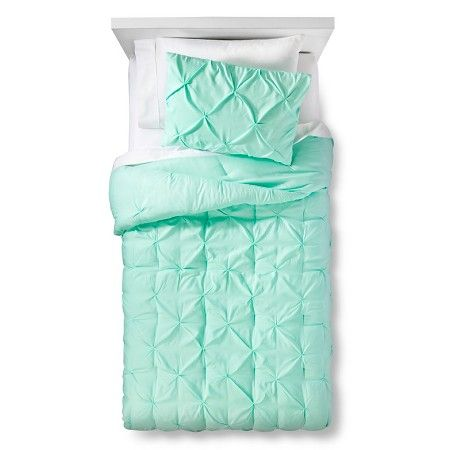 Pinch Pleat Comforter Set Twin Mint Green 2pc - Pillowfort™ : Target