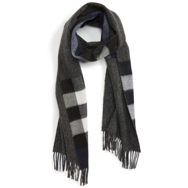 Men's Burberry Check Cashmere Scarf (1.975 BRL) ❤ liked on Polyvore featuring men's fashion, men's accessories, men's scarves, indigo, burberry mens scarves, mens cashmere scarves and mens scarves