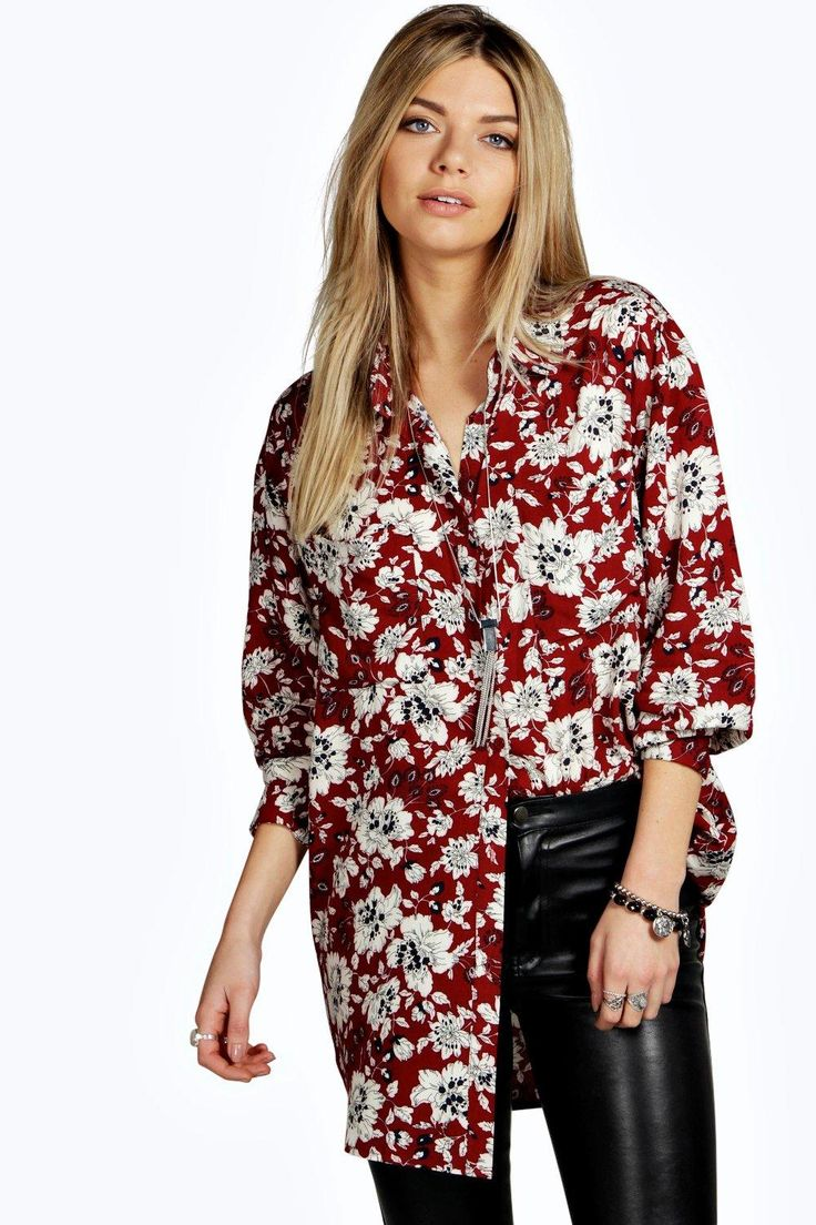 Bella Floral Print Oversized Long Sleeve Shirt