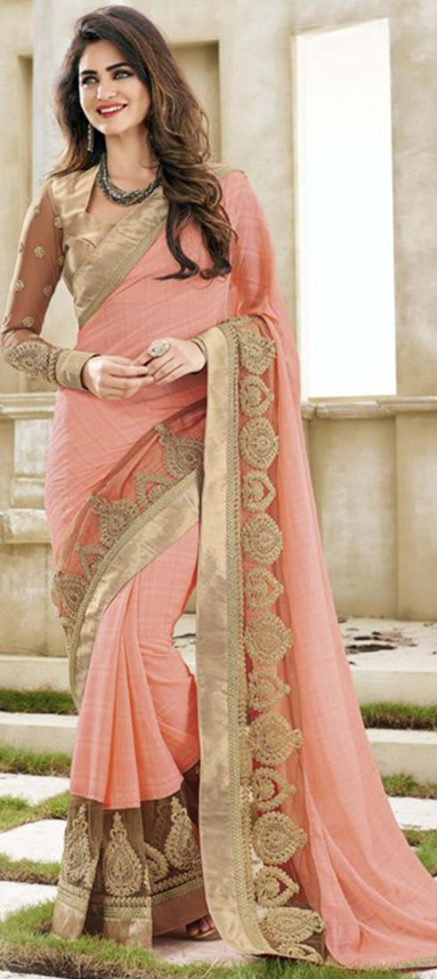 182611: Pink and Majenta color family Embroidered Sarees, Party Wear Sarees with matching unstitched blouse.