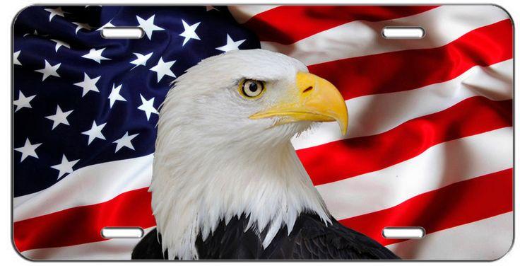 CUSTOM PATRIOTIC LICENSE PLATE AMERICAN FLAG AND EAGLE AUTO TAG #putapiconit