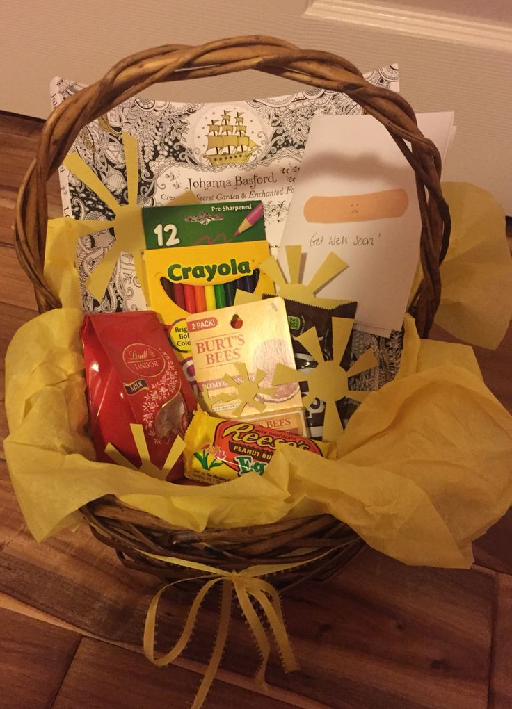 Get well basket! Basket of sunshine! After surgery gift.  Get well card, adult relaxing coloring book, colored pencils, Reese's, M&Ms, Burt's Bees Chapstick, Lindt truffles.