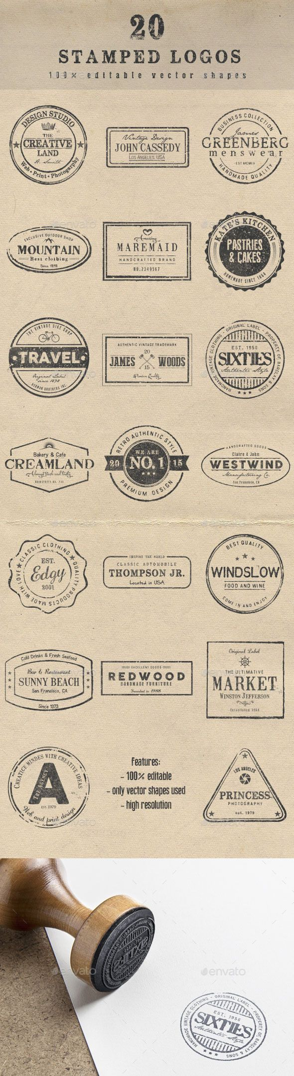 20 Stamped Logos #design Download: http://graphicriver.net/item/20-stamped-logos/12113658?ref=ksioks