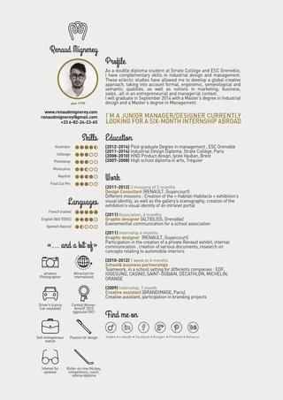 16 best CV images on Pinterest Cv ideas, Resume design and Resume cv - ui designer resume