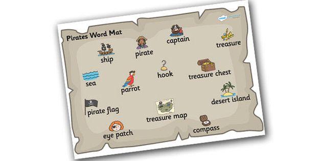 Pirate Word Mat - pirate word mat, pirates, pirate theme word mat, mat, pirate words, pirate word list, writing, literacy, writing aid, descriptive writing