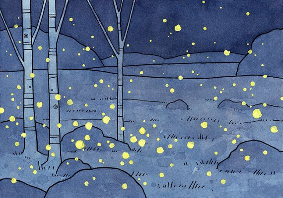 Fireflies Art Print 5x7 by studiotuesday on Etsy, $20.00