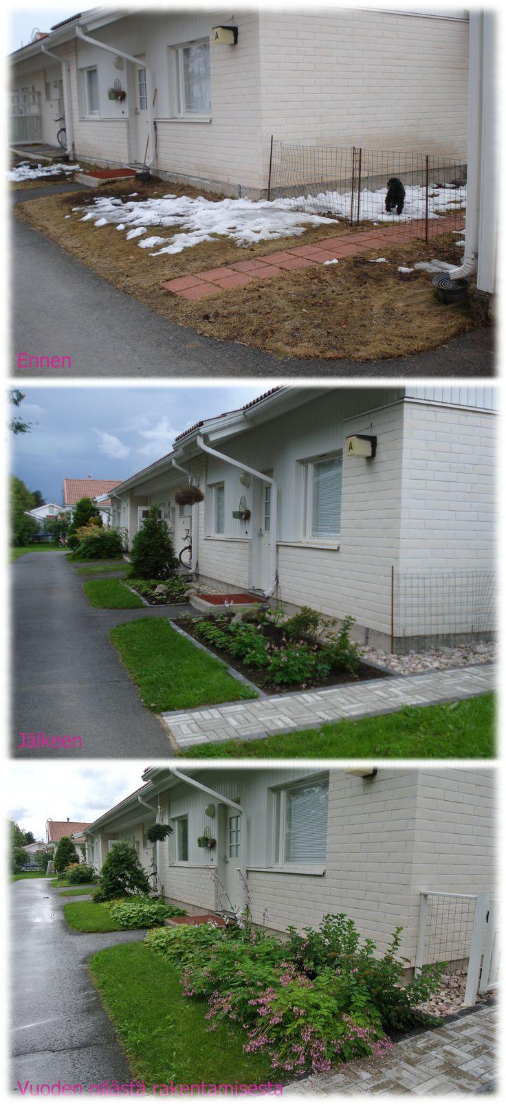 Rivitalon päätyasunnon etupiha - Front yard