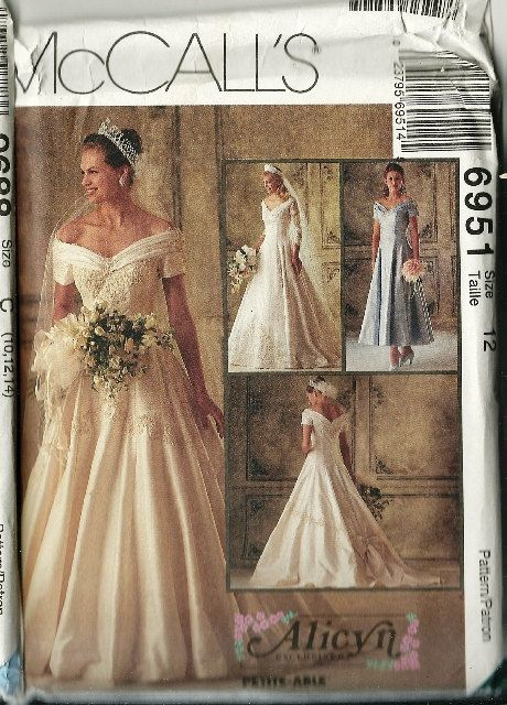 1994 McCalls Wedding Dress Pattern Pattern 6951 by TheIDconnection, $30.0090S Bridal