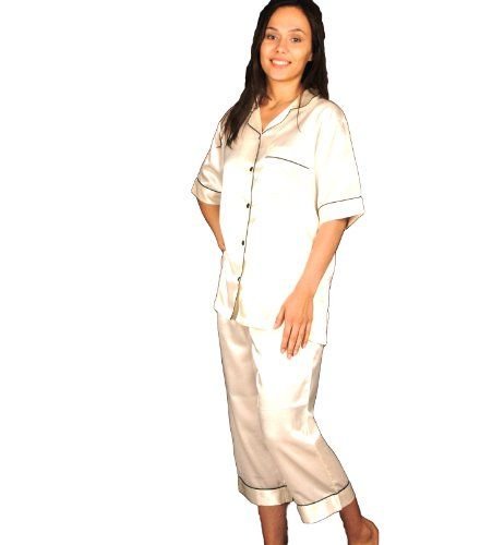 Womens Short Sleeved White Satin Pajamas