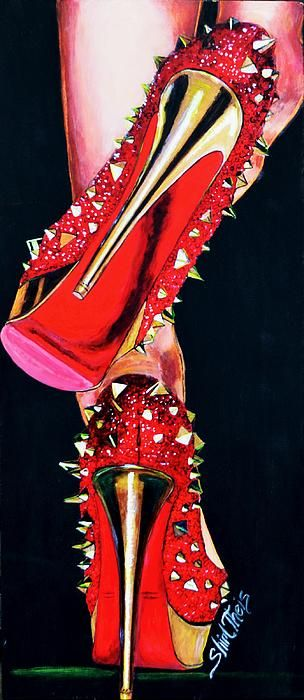 RED SPIKED SHOES PAINTING- awesome painting! I want these shoes!!
