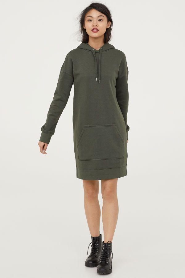 8c23e1a87 Hooded Sweatshirt Dress   Dark green   Women   H&M US   Wish list ...